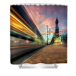 Shower Curtain featuring the photograph Blackpool Tram Light Trail by Yhun Suarez
