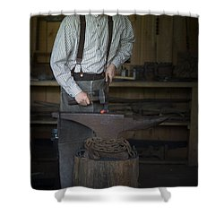 Shower Curtain featuring the photograph Blacksmith At Work by Liane Wright