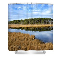 Shower Curtain featuring the photograph Blackwater National Wildlife Refuge In Maryland by Brendan Reals