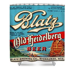 Blatz Old Heidelberg Vintage Beer Label Restored Shower Curtain