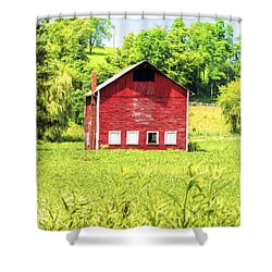 Blazing Barn Shower Curtain
