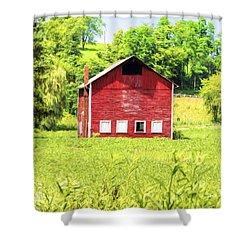 Blazing Barn Shower Curtain