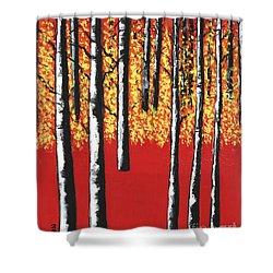 Blazing Birches Shower Curtain