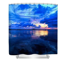 Blazing Blue Sunset Shower Curtain