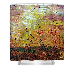Shower Curtain featuring the painting Blazing Prairie by Jacqueline Athmann
