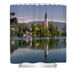 Shower Curtain featuring the photograph Bled by Davorin Mance
