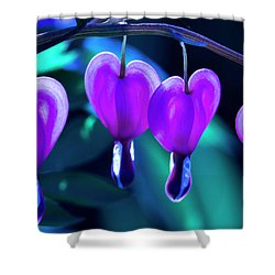Bleeding Hearts In Moon Light Shower Curtain by Skip Tribby