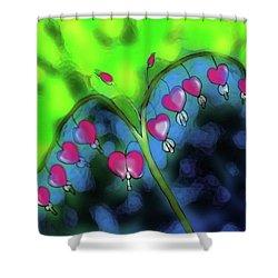 Bleeding Hearts Shower Curtain by Latha Gokuldas Panicker