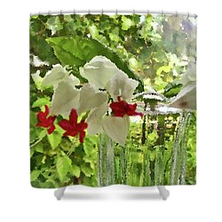 Bleeding Hearts Painted Rocks Shower Curtain