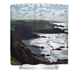 Blegberry Cliffs From Damehole Point Shower Curtain by Richard Brookes