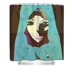 Shower Curtain featuring the mixed media Blessed 2 by Ann Calvo