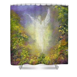 Shower Curtain featuring the painting Blessing Angel by Marina Petro