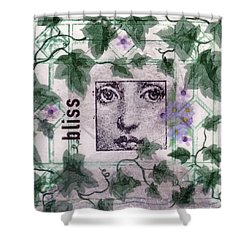 Shower Curtain featuring the mixed media Bliss On Tile by Desiree Paquette