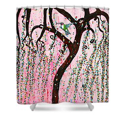 Shower Curtain featuring the mixed media Blissful Melody by Natalie Briney