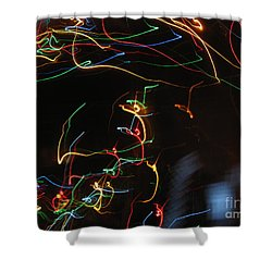 Shower Curtain featuring the photograph Blizzard Of Colorful Lights. Dancing Lights Series by Ausra Huntington nee Paulauskaite
