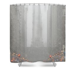 Snow In The City Shower Curtain by Christopher Woods