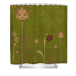 Blob Flower Garden Full View Shower Curtain
