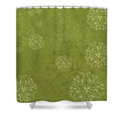 Blob Flower Painting #2 Yellow Green Shower Curtain