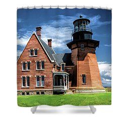 Shower Curtain featuring the painting Block Island Southeast Lighthouse by Christopher Arndt