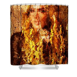 Blond Wood Inlay Shower Curtain by Andrea Barbieri