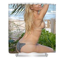 Blonde Beach Babe Shower Curtain