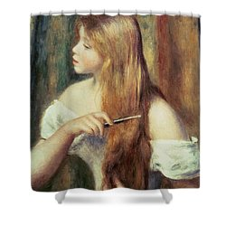 Blonde Girl Combing Her Hair Shower Curtain by Pierre Auguste Renoir