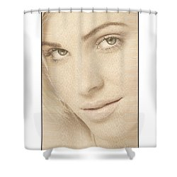 Shower Curtain featuring the photograph Blonde Girl's Face by Michael Edwards
