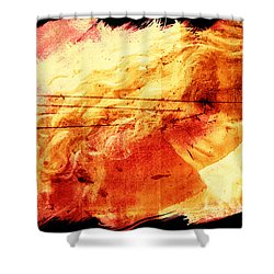 Blonde On Red Fire Shower Curtain by Andrea Barbieri