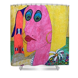Blonde W/pearl Necklace Shower Curtain