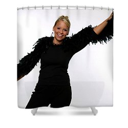 Blonde With Boa Shower Curtain by Bob Pardue