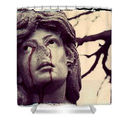 Blood Is The New Black Shower Curtain by Jane Linders