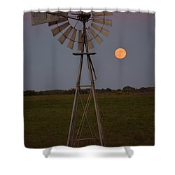 Blood Moon And Windmill Shower Curtain