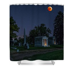 Blood Moon At Fairmount Cemetery Shower Curtain