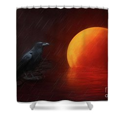 Blood Moon Crow Shower Curtain