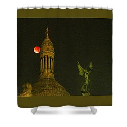 Blood Moon Eclipse At Sacre Coeur Paris  2015 Shower Curtain
