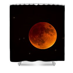 Blood Moon Lunar Eclipse 2015 Shower Curtain by Saija  Lehtonen