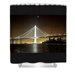 Blood Moon Over Bay Bridge Shower Curtain