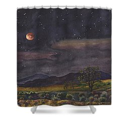 Blood Moon Over Boulder Shower Curtain