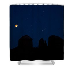 Blood Moon Over Cathedral Shower Curtain