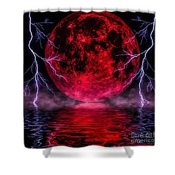 Shower Curtain featuring the photograph Blood Moon Over Mist Lake by Naomi Burgess