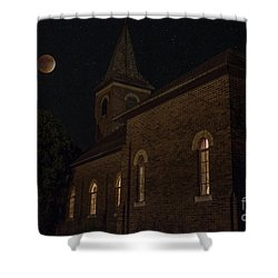 Shower Curtain featuring the photograph Blood Moon Over St. Johns Church by Keith Kapple