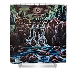 Blood Moon Rising Shower Curtain by Cheryl Pettigrew