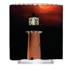 Blood Moon Rising Over Jupiter Lighthouse In Florida Shower Curtain