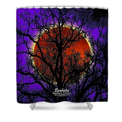 Shower Curtain featuring the photograph Blood Moon Trees by Barbara Tristan
