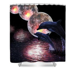 Dolphins In The Moonlight Shower Curtain