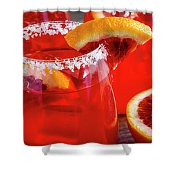 Shower Curtain featuring the photograph Blood Orange Margaritas On The Rocks by Teri Virbickis