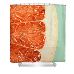Blood Orange Slice Macro Details Shower Curtain