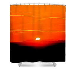 Blood Red Sunset Shower Curtain
