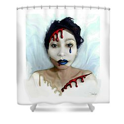 Blood Sweat Tears Faced Shower Curtain