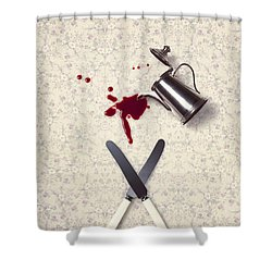 Bloody Dining Table Shower Curtain by Joana Kruse